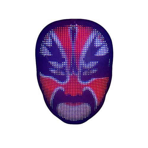 LJT La máscara de Halloween Bluetooth se Puede conectar a un teléfono móvil, Tomar fotografías y cargarlas a voluntad, y se Puede Utilizar para Fiestas de Disfraces,Rechargeable Version