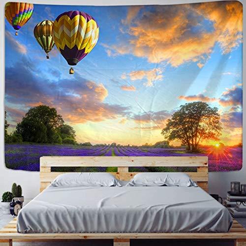 Tapiz Impreso en 3D Cielo Tapiz de Globo de Aire Caliente Campo de Lavanda Arte Colgante de Pared sofá Mesa Cubierta de Cama decoración del hogar Dormitorio Regalo-1.3X1.5m