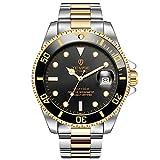 RORIOS メンズ腕時計 高級メカニカル腕時計 自動巻きうで時計 機械式時計 メンズビジネスウォッチ 夜光 日付表示 ステンレスバンド 防水ウォッチ 紳士 誕生日プレゼント 時計 watch for men 黒A
