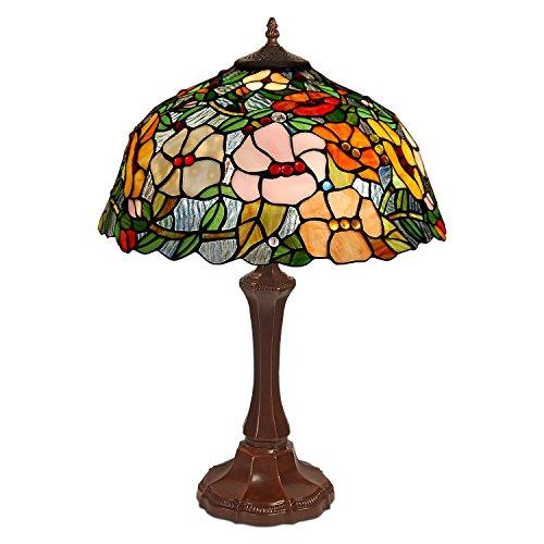 Arte Dal Mondo GF16715, Blumen-Tischlampe Glas im tiffany-stil handwerk, Glas, Multicolor, 60 x 42 x 42 cm