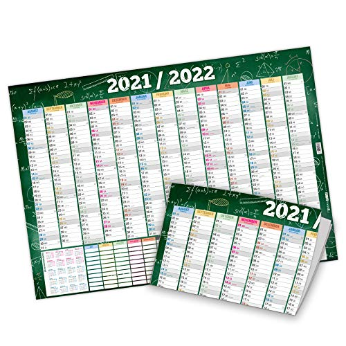 itenga Schuljahreskalender 2021 2022 Wandkalender DIN A2 250g/m² gefalzt stabil mit Stundeplan Schuljahresplaner