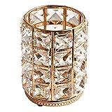FLAMEER Organizador de joyas soporte de pincel de maquillaje de cristal - Dorado L
