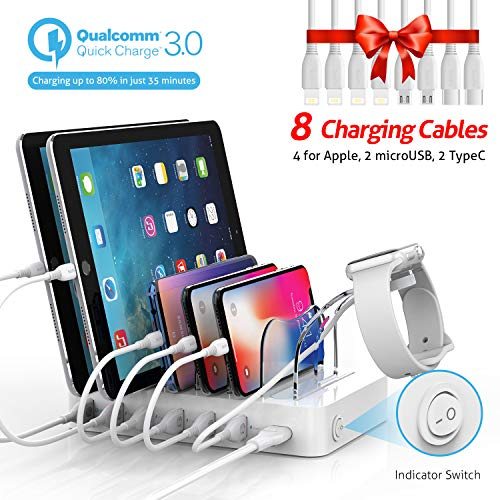 Soopii Quick Charge 3.0 60W/12A 6-Port USB Charging Station for Multiple Devices, 8 Short Charging Cables Included, I Watch Charger Holder,for Phones, Tablets, and Other Electronics,White