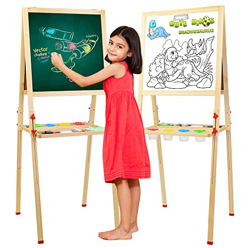 Wooden Kids Easel DoubleSided Magnetic Whiteboard amp Chalkboard Adjustable Height 315in~582in Children Easelwith a Roller Children Art EaselB