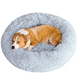 Calming Dog Cat Bed 50/70/85/100/120cm Plush Donut for Large Medium Small Dog Cat Calming Anxiety Relief Fluffy Soft Cuddler Round Pet Nest Orthopedic Relief Anti-Slip Light Grey 85cm