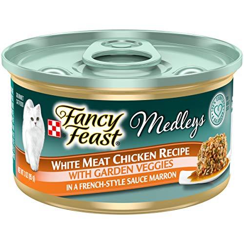Purina Fancy Feast High Protein Wet Cat Food, Medleys White Meat Chicken with Garden Veggies in Sauce Marron - (24) 3 oz. Cans
