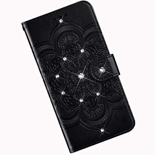 Qjuegad Kompatibel mit Huawei Honor 8X Hülle Premium Flip Ledertasche Schutzhülle, Mandala Punktbohrer Muster Stoßfest Magnetische Flip Wallet Hülle mit Kartenhalter Cover mit Lanyard - Schwarz