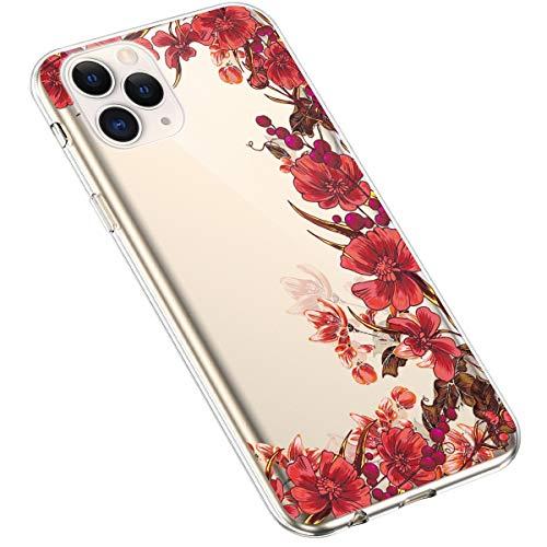 Coque pour iPhone 11 Pro Silicone Etui,Uposao iPhone 11 Pro Coque Transparent avec Motif Fleur Crystal Clear Case Premium Semi Hybrid Ultra Mince Slim Soft TPU Antichoc Bumper,Fleur Rouge