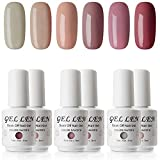 Gellen Gel Nail Polish Set - Popular Nudes Series 6 Colors UV LED Soak Off Nail Gel Manicure Kit