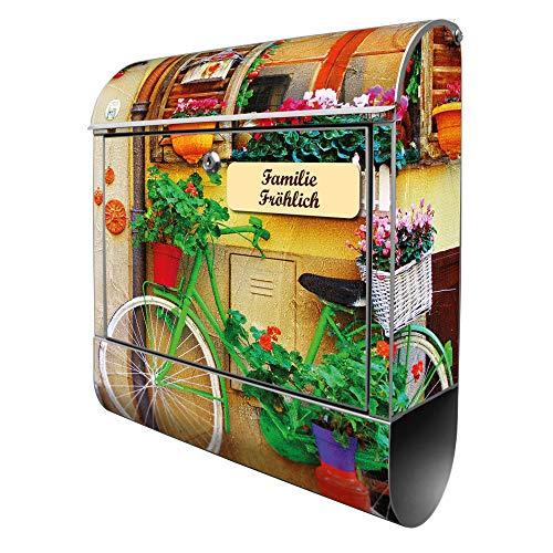 Banjado Design Briefkasten personalisiert mit Motiv Grünes Fahrrad | Stahl pulverbeschichtet mit Zeitungsrolle | Größe 39x47x14cm, 2 Schlüssel, A4 Einwurf, inkl. Montagematerial