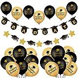 YiYa 41 piezas de decoración de graduación - 24 piezas globos de graduación negros y dorados y pancarta de 'GRADUATE' para la fiesta de graduación del hogar y la escuela