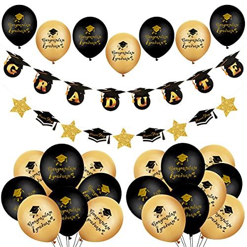 """YiYa 41 piezas de decoración de graduación - 24 piezas globos de graduación negros y dorados y pancarta de """"GRADUATE"""" para la fiesta de graduación del hogar y la escuela"""