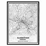 Saarbrücken Deutschland Karte Wandkunst Leinwand drucken