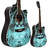 Lindo Guitars Series Apprentice 42C Guitare acoustique et étui Bleu fractal