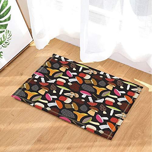 gwegvhvg Planta alfombras,Setas y Setas y Otros Hongos sobre un Fondo Negro,tapetes Antideslizantes,absorbentes,Suaves y Resistentes al Desgaste en la Cocina