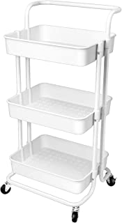 Homemaxs 3 Tier Utility Cart – Heavy Duty Rolling Cart with Handles and Roller Wheels Storage Cart for Kitchen, Coffee Bar, Microwave Cooking Station, Storage, Office, Bathroom (White)