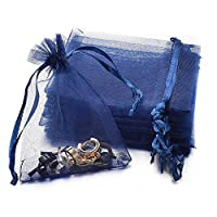 Yoursfs オーガンザ バッグ ネイビーブルー 7*9cm 巾着袋 カラフル キャンディー 小さな袋 透明 ギフト バッグ 100枚セット