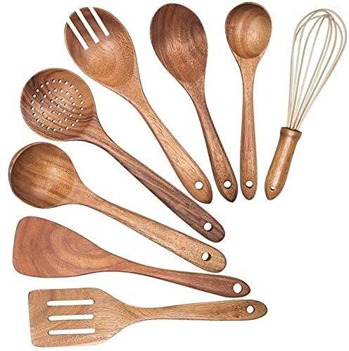 Juego de Cubiertos, Utensilios de cocina de madera, utensilios de madera nuevos para cocina, cucharas de madera para cocinar espátula espátula que drena cuchara batidor y bifurcación de ensalada, uten