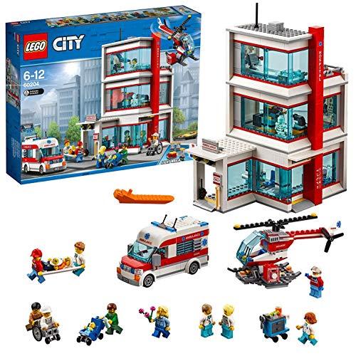 LEGO City - Hospital, Juguete Creativo de Construcción de Edificio con Helicóptero y Ambulancia para Niños y Niñas de 6 a 12 Años, Incluye Minifiguras (60204)