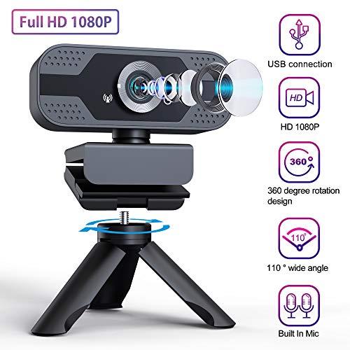 IVSO Webcam con Microfono, Full HD 1080P Webcam Angolo di Visione Ampio 110 Gradi Videocamera USB Plug e Play con Treppiede per Conferencing Studiando