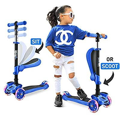 Hurtle 3-Wheeled Scooter for Kids - Wheel LED Lights, Adjustable Lean-to-Steer Handlebar, and Foldable Seat - Sit or Stand Ride with Brake - Perfect Gift for Boys and Girls Ages 1-14 Years Old - Blue
