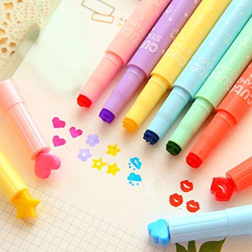 dljztrade Markeerstiften, 6 stuks, schattige snoepjes, kleurvorm, stempel, creatief markeergereedschap, cadeau voor studenten multi