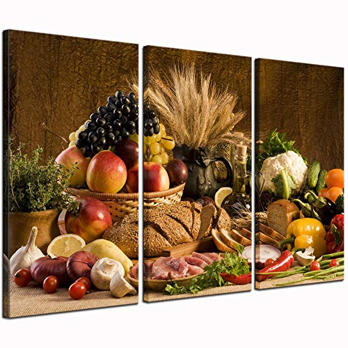 LevvArts - Food Canvas Wall Art Good Harvest Wheat Fruit Vegetable Bread Picture Print On Canvas for Kitchen Room Decoration Large 3 Pieces Artwork Ready to Hang