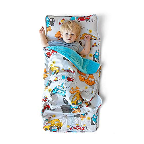 JumpOff Jo – Toddler Mat – Children's Sleeping Bag with Removable Pillow for Preschool, Daycare, Sleepovers – Original Design: Jo's Garage (43 x 21 inches)