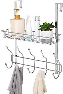 Nandae Over The Door 5 Hooks Shelf Organizer Hanger with Mesh Basket Storage Rack for Bathroom Kitchen Storage Shelves, Chrome