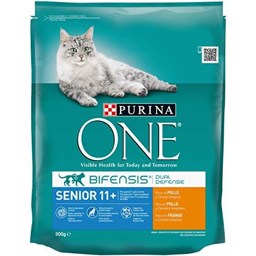 Purina One bifensis pienso para el gato, Senior 11+, Ricco en pollo y cereales integrales, 800g, 8 piezas