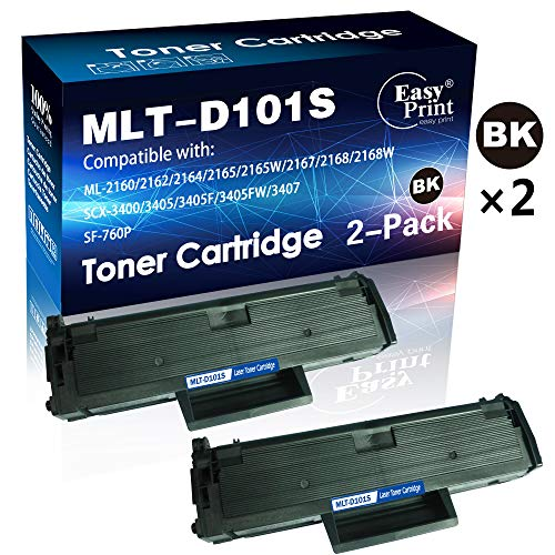 (2-Pack, Black) Compatible MLT-D101S D101S Toner Cartridge 101S Used for Samsung ML-2160 ML-2165 ML-2165W SCX-3400 SCX-3400F 3400FW SCX-3405 SCX-3405F 3405FW SF-760P Printer, Sold by EasyPrint