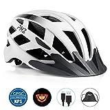 Casco de bicicleta PHZING CE certificado, ajustable, para adultos con visor desmontable, para bicicleta, de carretera o BMX, color blanco, tamaño M-(21.5-22.4 in)