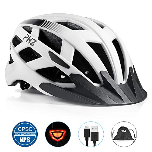 PHZ. 7346007 Adult Bike CPSC Certified Helmet with Rechargeable Led Back Light/Detachable Visor Ideal for Men and Women