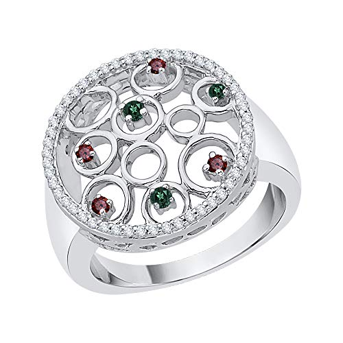 KATARINA Anillo de moda de diamantes y piedras preciosas multicolor en oro de 14 quilates (7/8 cttw, G-H, I2-I3)