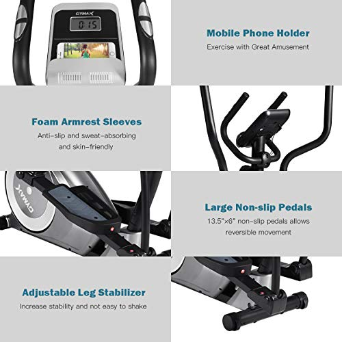 Goplus Elliptical Machine, Portable Magnetic Elliptical Trainer Cardio