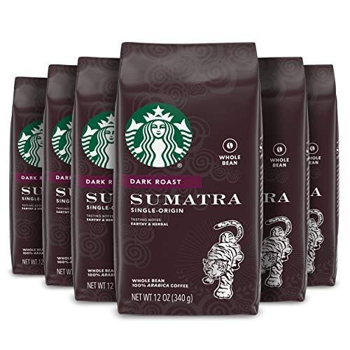 Starbucks Dark Roast Whole Bean Coffee — Sumatra — 100% Arabica — 6 bags (12 oz. each)