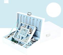 MU Boîte à Bijoux en Bois Solide de boîte de Rangement portative de ménage/Double boîte de Finition de Bijoux de tiroir de...