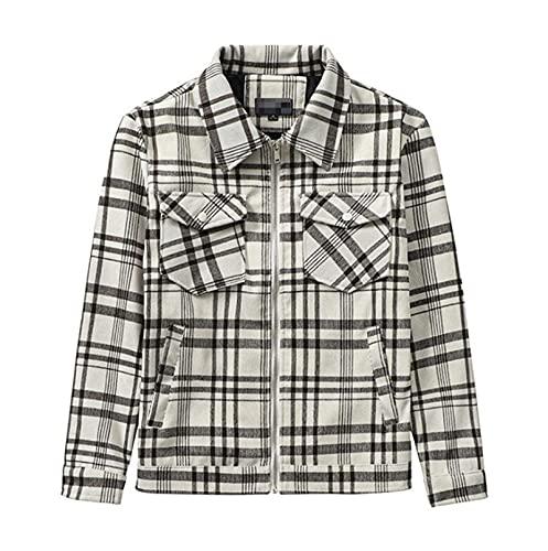 Camisas Acolchadas para Hombre Leñador de cheques Chaqueta de Trabajo Acolchado Top de Desgaste, para Hombre Casual Lapel Plaid Botón Casual Abrigo Casual Camisa de Manga Larga