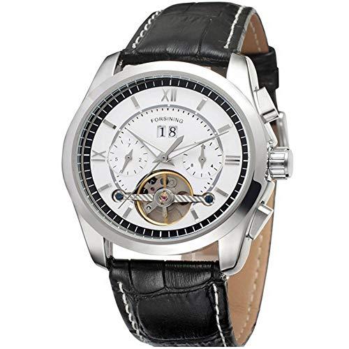 Herren-Armbanduhr, hochwertiges einzigartiges Design, Kalender, automatisches mechanisches Uhrwerk, Armbanduhr mit verstellbarem Lederarmband (weiß + silber).