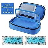 Insuline Glacière Isotherme Diabétiques Sac Isotherme pour Transporter les Médicaments pour Diabétiques avec 2 Packs de Glace (Bleu)