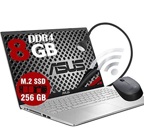 Notebook ASUS VivoBook Silver Portatile Pc Display 15.6  HD Intel Dual Core N4020 2.80Ghz Ram DDR4 8Gb SSD M.2 256GB Intel UHD Graphics 600 Hdmi Wifi Windows 10 Pro Open Office Mouse Lampada USB