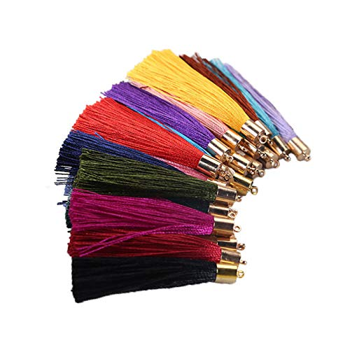 50pcs Tassels for Jewelry Making,Mix Color Style Fashion Soft Silky Imitation Silk Tassels Fit DIY Accessories(25 Pairs)