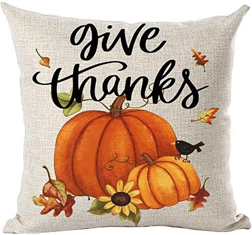 Mesllings - Funda de cojín pintada a mano con diseño de hojas de calabazas naranjas y flores de girasol, para decorar el hogar, la sala de estar, la cama, el sofá, el coche, el lino y el algodón, cuadrado, 45,7 x 45,7 cm