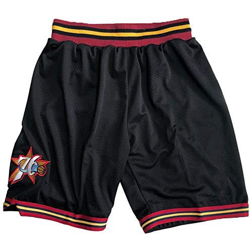 QJL Shorts 76ers, Pantalones Cortos para Hombre, diseño de Cremallera Sueltos y Transpirables, 76ers Swingman Shorts Disipación Cómoda y rápida transpiración (S-XXL) Black-XXL