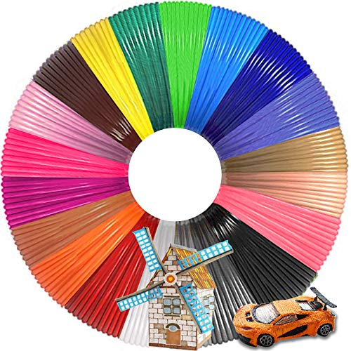 3D Pen PLA Filament Refills, 2 Silicone Finger caps, 20 Color Total 320 Feet Lengths 1.75mm High-Precision Diameter PLA Filament for 3D Printer, Smooth Printing Refills for Easy 3D Art, Safe for Kids