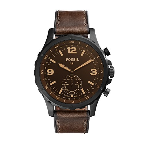 Fossil Q Men's Nate Stainless Steel and Leather Hybrid Smartwatch, Color: Black, Brown (Model: FTW1159)