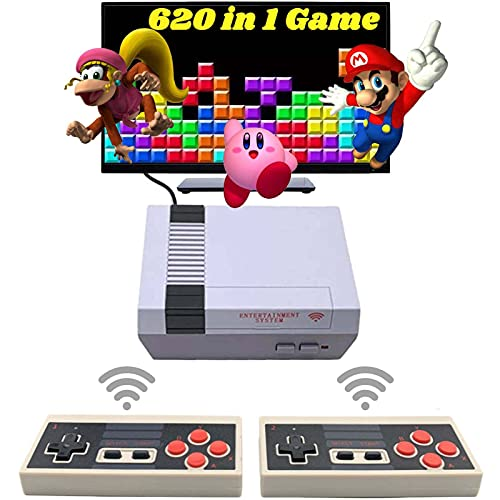 620 Retro Game Console,Classic Mini NES Game System with Preloaded Video Games and 2 NES Classic Wireless Controllers,AV Output Plug&Play NES Console for Kids and Adults