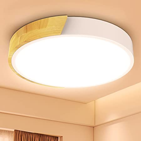Kambo Plafonnier Led 24W, Blanc Chaud 3000K Lampe Plafond Led 2400LM, Luminaires Intérieur Plafonnier Led Fer et Chêne, Plafonnier Blanc for Cuisine Salon Chambre Bureau