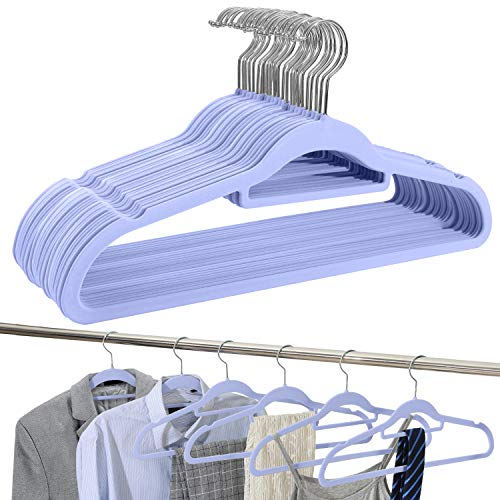 Amazon Brand - Umi Velvet Suit Hangers, Non-Slip, Heavy-Duty and Space-Saving, with Tie Bar, 360° Swivel Hooks, Notched Shoulders, Standard Hangers for Multi-Purpose - Purple, 30-Pack