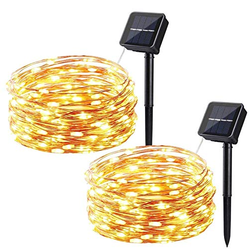 Solar String Lights, 2 Pack Solar Powered Fairy String Lights 50 LED 16ft 8 Modes Waterproof Outdoor Solar Garden Lights Copper Wire Lights for Party Wedding Patio Yard Bedroom (Warm White)